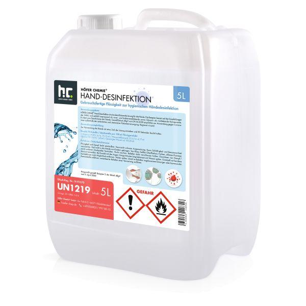 5L de désinfectant pour les mains - prêt à l'emploi