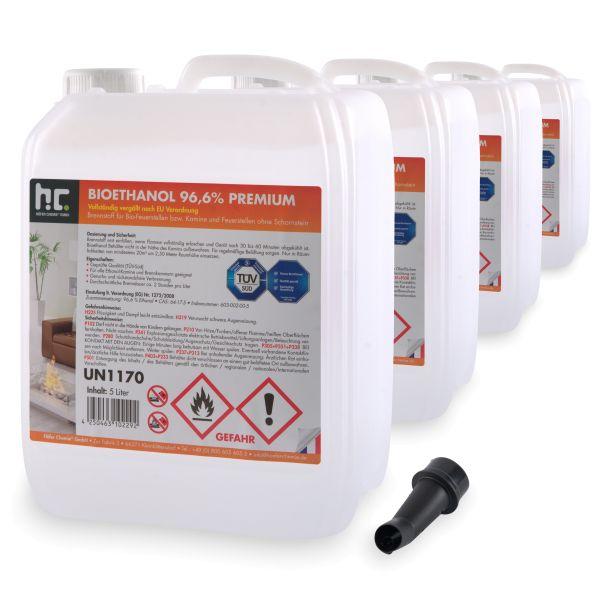 4 x 5 L Bioethanol 96,6% Höfer Chemie im 5l Kanister Brenstoff