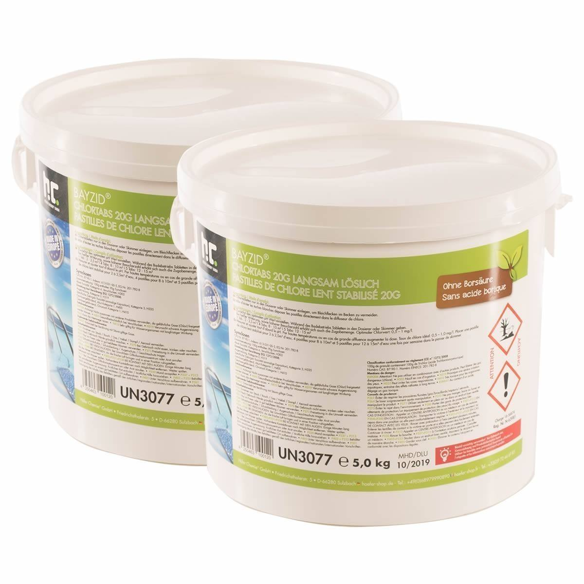 2 x 5 kg Chlortabs 20g langsam löslich