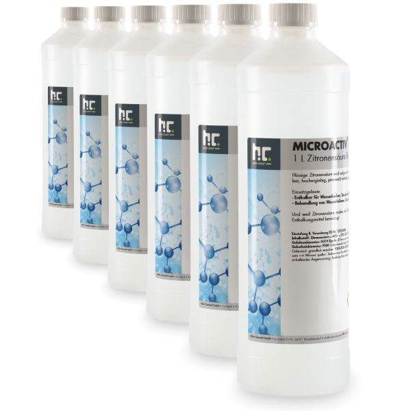 Höfer Chemie Zitronensäure 50%ig flüssig (Entkalker) Microactiv® power 6x1 Liter